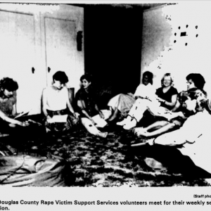 Douglas County Rape Victim Support Services volunteers meet for their weekly meeting in 1987.