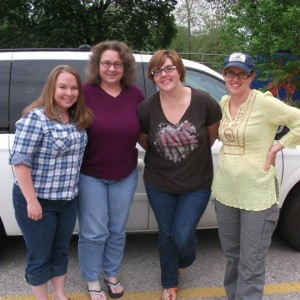 GaDuGi SafeCenter staff gather for a photo in 2011. (L-R, Pam Lawrence, Sarah Jane Russell, Chrissy Heikkila, Christie Dobson)